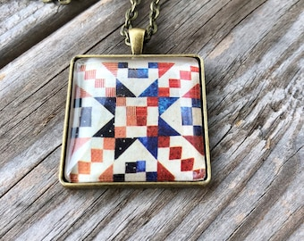 Star American Quilt Block Necklace Gift for Sewers Quilters Sewing Quilter Birthday Gift Barn Quilt Trail 4th of July