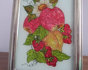 Tinsel Painting of Apples, Strawberries and a peach.