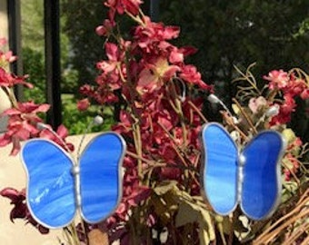 Stained Glass Assorted Colors of Butterfly Garden Plant Stakes -