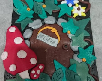 Polymer clay A6 fairy door journal cover complete with journal