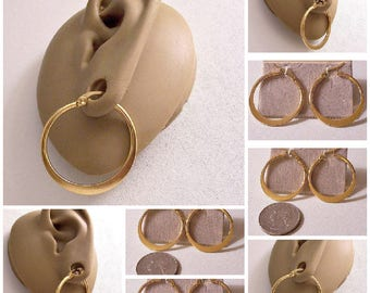 "Flat 1 1/4"" Band Hoops Pierced Stud Earrings Gold Tone Vintage 32mm Stainless Surgical Steel Post Wide Bottom Large Round Open Ring Dangles"