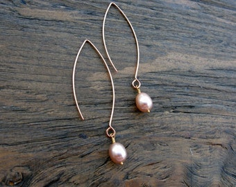 Rose gold earrings, contemporary rose gold pearl earrings