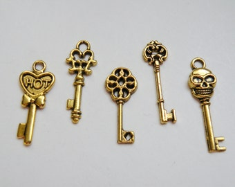 5 Skeleton key small charm collection antique gold 29x13mm to 33x10mm FCW5942