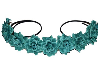 Teal Rose Flower Crown / Flower Halo - The Lucky Crown