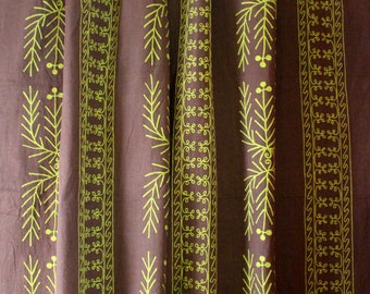 Designers Guild, Green and Brown and Green Embroidered Linen, Curtain and Upholstery Fabric, From Jane Hall Design