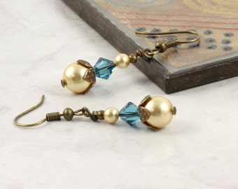 Gold Pearl Earrings Teal Crystal Jewelry Pale Yellow Earrings Summer Jewelry Brass Earrings Gold Bridal Jewelry Teal Wedding Earrings