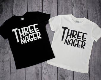 Boys 3rd Birthday shirt,  3 year old birthday boy, Threenager Shirt, 3rd Birthday Shirt, shirts for boys 3rd birthday, Young Wild and Three
