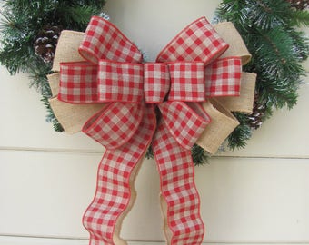 Red Gingham Burlap Christmas Bow, Burlap Wreath Bow, Burlap Plaid Bow, Christmas Wreath Bow, Country Wreath Bow, Plaid Christmas bow
