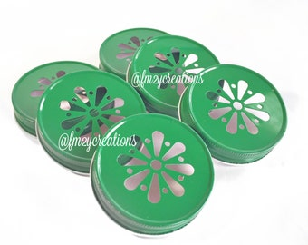 Green Color Daisy Lids--(6) Wedding Daisy Lids, Daisy Cut Green Mason Jar Lids, Mason Jar Lids