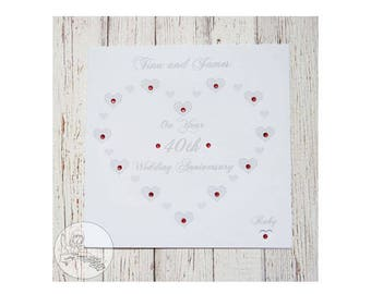 Handmade Personalised 40th Wedding Anniversary Card Ruby Marriage Gift Hearts