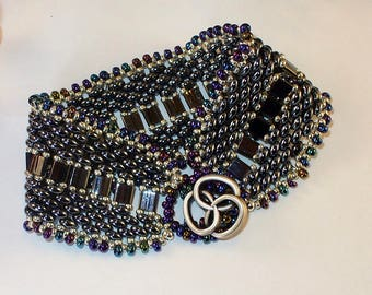 Gunmetal Beadwoven Bracelet