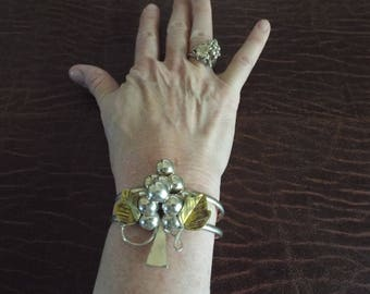 Sterling Silver  Mexcian Grape and Leaf Design Cuff Bracelet and Matching Ring  45.5 Grape Ring size 8 ethnic jewelry