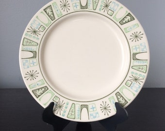 Mid Century Cathay Pattern Bread and Butter Plates by Taylor Smith and Taylor Blue and Green Atomic