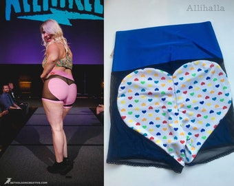 XL Candy Heart and Blue MESH Big Heart Shorts Extra Large 16 18 20