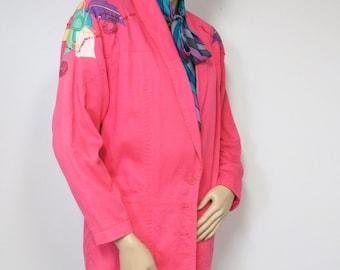 Vintage Jacket Spring Pink Corduroy Blazer Jacket Vintage Designer Applique Beaded Lightweight Long Blazer Women's Coat Size Small Medium
