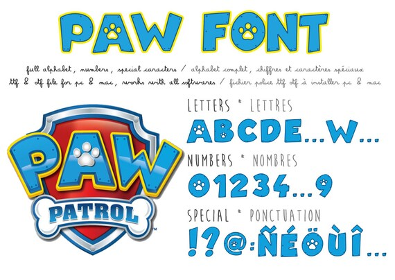 Knitting Fonts For Mac : Paw patrol font real ttf file compatible pc and mac