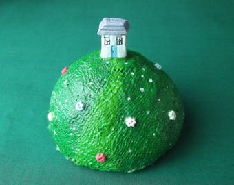House On The Hill Ornament/Paperweight - Handmade, Decoration, New Home, Cottage, Housewarming