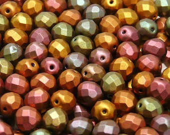 25pcs Czech Fire-Polished Faceted Glass Beads Round 8mm Crystal Purple Iris Gold (8FP045)