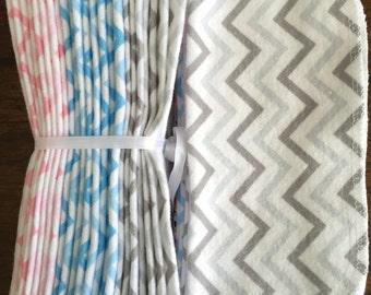 Cloth Baby Wipes. Starter Kit - 3 dozen.  Eco friendly reusable cloth diapering wipes. Chevron