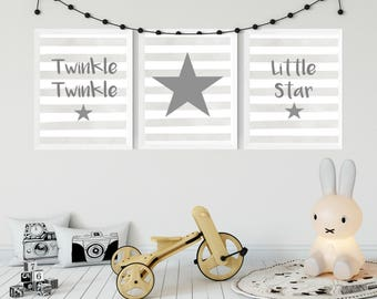 Twinkle Twinkle Set Of Three Nursery Prints - Grey/Blue/Pink/Mint