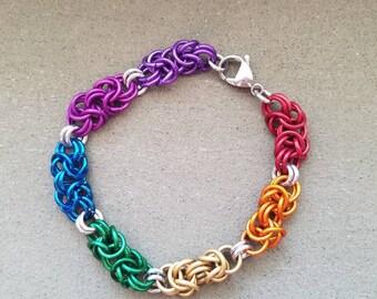 Rainbow pride Byzantine chainmaille Bracelet