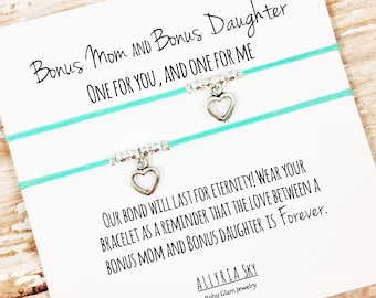 "Set of Two Charm Bracelets with ""Bonus Mom and Bonus Daughter"" Card 