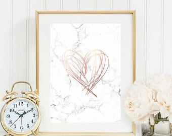 marble and rose gold print, rose gold marble print, copper marble print, marble poster prints, printable wall art, downloadable prints