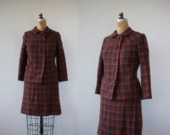 vintage 1960s plaid suit / 60s saks fifth avenue skirt suit / 60s pink brown plaid suit / 60s boxy suit / jackie o suit / medium 26in waist