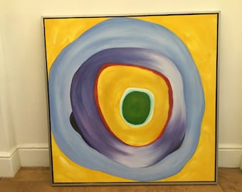 60s yellow abstract painting large acrylic vintage artwork geometric purple