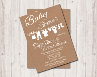 Baby Shower Invitation - Inv037 - kraft paper, baby clothes clothesline, 5x7