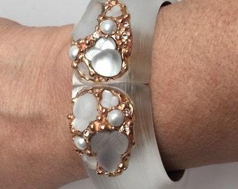 Stunning Alexis Bittar 'Candied Fruit' White & Rose Gold Bangle Bracelet