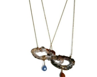 Agate & Blue Chalcedony Necklace