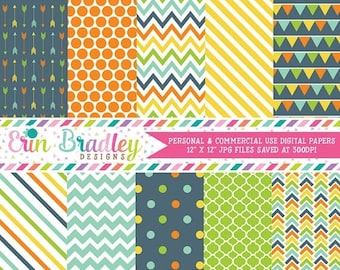 80% OFF SALE Blue Orange Yellow Green Digital Paper Pack Personal & Commercial Use Digital Scrapbook Patterns Arrows Polka Dots Chevron