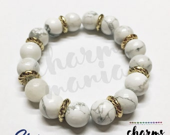 Mariel Howlite Gemstone Bead Bracelet