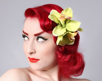 Rock Rockabilly 50s Pin Up green double orchid hair flower clip