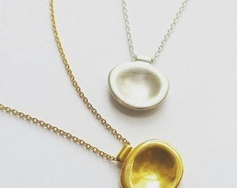 Minimalist Sterling Silver or Gold Fill Pebble Necklace. Brushed Gold Drop Necklace. Layering Delicate Necklace.