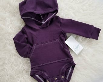 baby girl outfit / baby girl clothes / plum hooded bodysuit / baby clothing / newborn girl outfit / baby outfit / toddler girl outfit