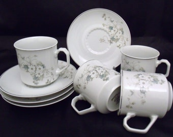 Set of 4 cups & saucers, Porcelana Real Brasil, floral pattern