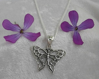 Butterfly Necklace, Butterfly Pendant, Sterling Silver Butterfly Necklace