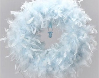 Quality Baby Blue Feather Wreath - Angel Wreaths