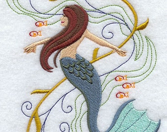 Fantasy Waves Mermaid Embroidered Flour Sack Hand/Dish Towel