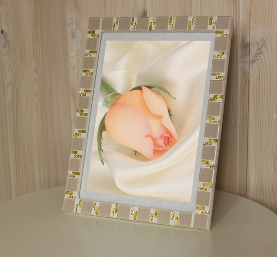 8x12 frame - Mosaic wall photo frame - Beige frame - Photo frame ...