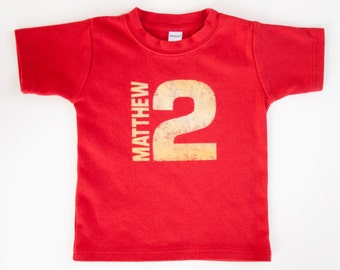 Toddler Personalized Name and Number Birthday Shirt, Birthday gift idea - NO INK - Click for colors, Free Shipping