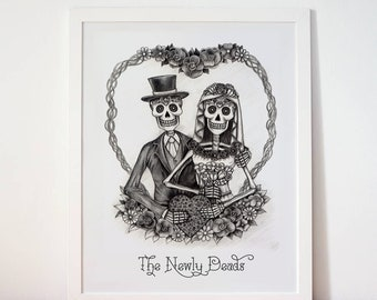 INSTANT DOWNLOAD - The Newly Deads - muerte, gothic print. Perfect for alternative weddings, engagements. Gift