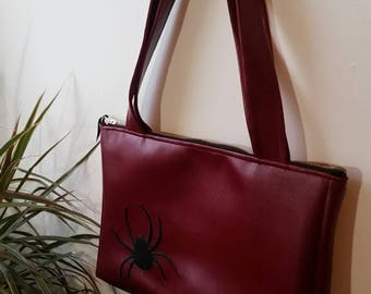 Large Red Faux Leather Spider Purse