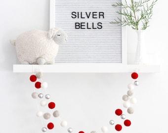 Silver Bells Christmas Garland- Silver bells- Christmas decor-Christmas tree Garland- Red White Silver Christmas-Felt Ball Garland Christmas