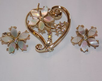 Tara 5th Ave Mother of Pearl Earrings and Brooch
