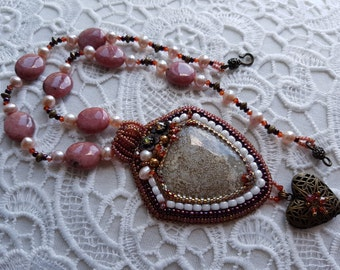 Vintage Secret Embroidered Necklace, Beaded Jewelry, OOAK, Oceanic Jasper Rhodonite Pearl Necklace Pendant, Gift for Her