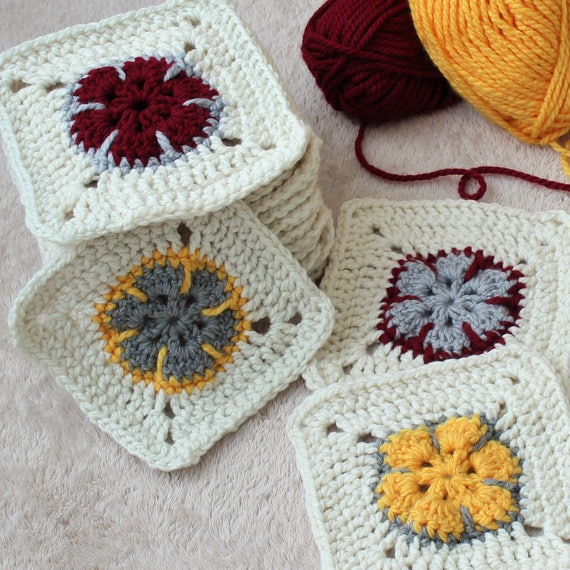 Easy Flower Square, Easy Square Pattern, Easy Crochet Granny Square ...