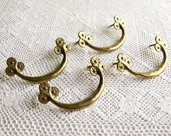 Vintage Brass Drawer Pulls Set of 4  Art Nouveau Style Organic Shaped Handles 1970s
